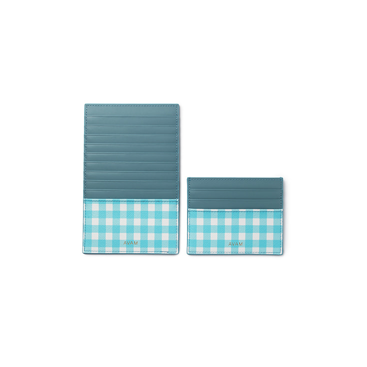 Gingham Card Wallet (Blue)