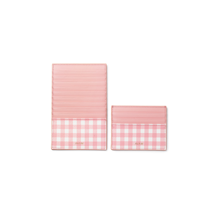 Gingham Card Wallet (Pink)